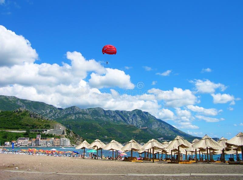 Spiaggia di Becici, Montenegro fotografia stock