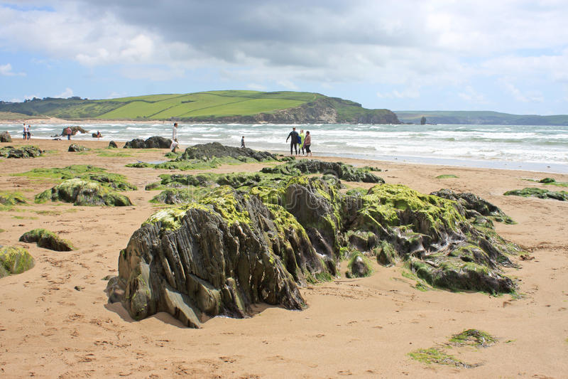 Spiaggia di Bigbury fotografia stock libera da diritti