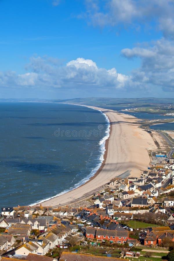 Spiaggia di Chesil in Weymouth Dorset Inghilterra immagine stock libera da diritti
