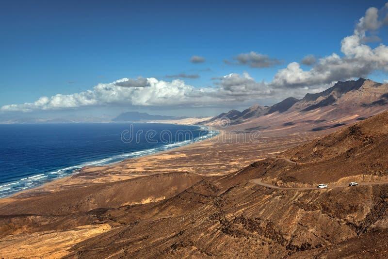 Spiaggia di Cofete di vista panoramica, Fuerteventura, isole Canarie, Spagna fotografia stock