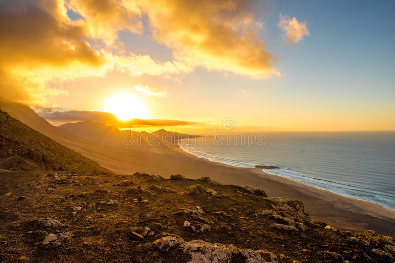 Spiaggia di Cofete sull'isola di Fuerteventura fotografie stock libere da diritti
