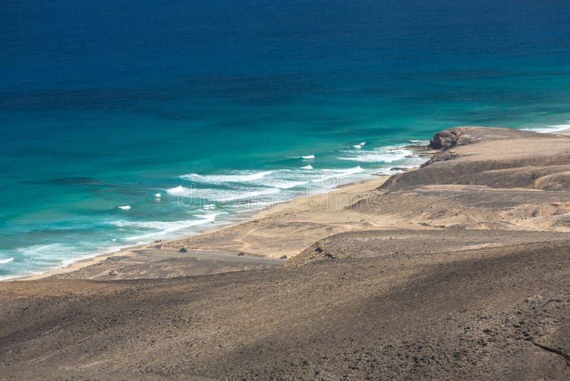 Spiaggia di Cofete, vista dalla penisola di Jandia, Fuerteventura, fotografia stock