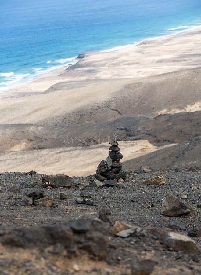 Spiaggia di Cofete, vista dalla penisola di Jandia, Fuerteventura, immagine stock
