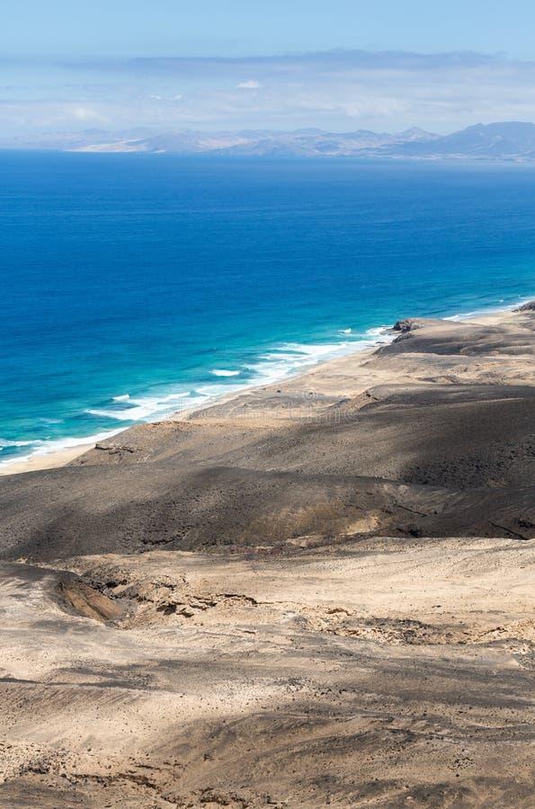 Spiaggia di Cofete, vista dalla penisola di Jandia, Fuerteventura fotografia stock