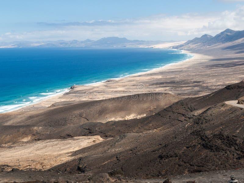 Spiaggia di Cofete, vista dalla penisola di Jandia, Fuerteventura, isole Canarie, fotografia stock