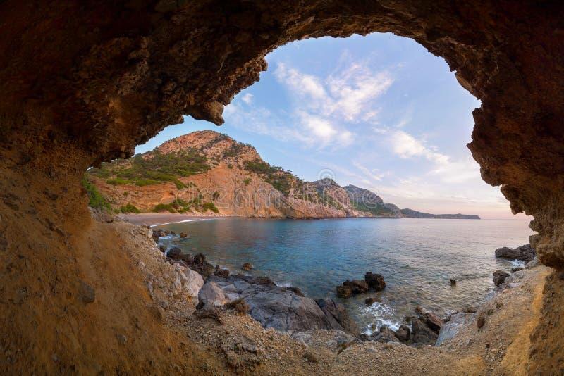 Spiaggia di Coll Baix vicino a Alcudia, Mallorca, Spagna fotografia stock libera da diritti