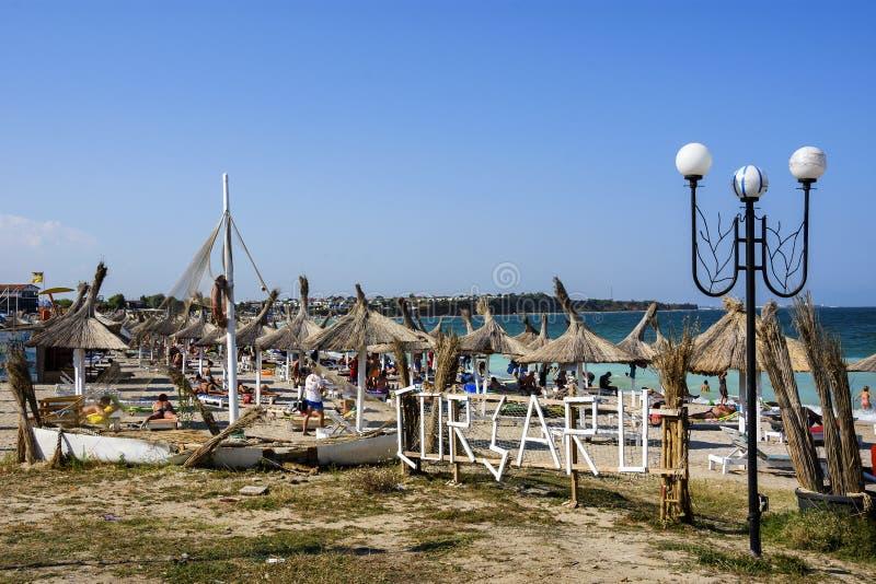 Spiaggia di Corsaru su Vama Veche, Romania immagini stock libere da diritti