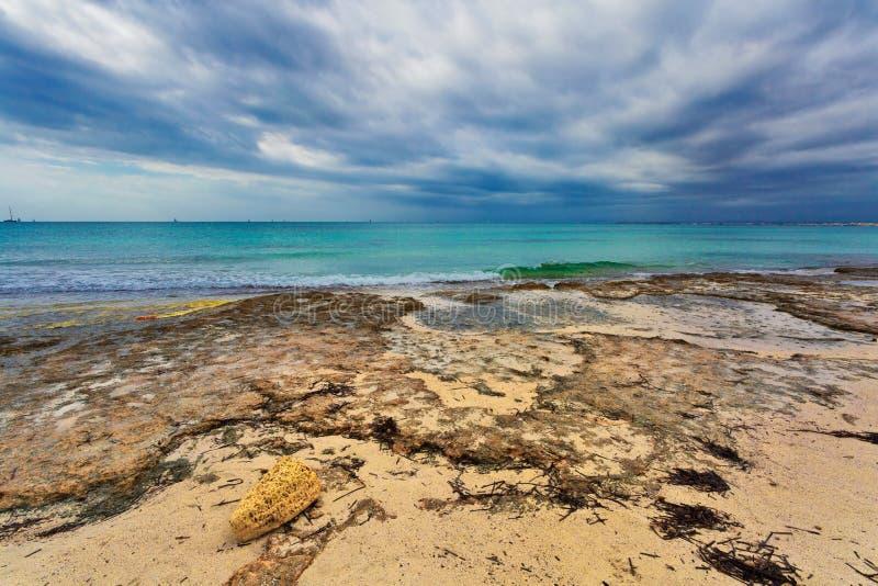 Spiaggia di es Trenc sotto il cielo triste fotografia stock