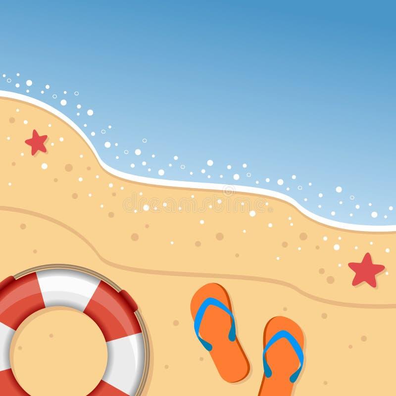 Spiaggia di estate con Flip Flops & il salvagente illustrazione vettoriale