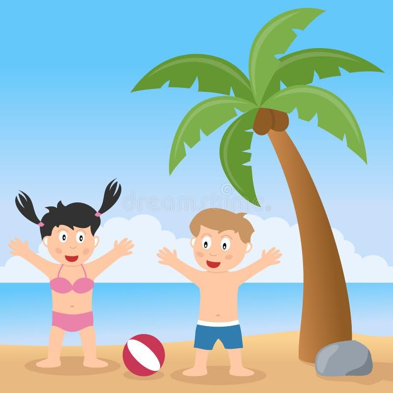 Spiaggia di estate con la palma ed i bambini illustrazione di stock