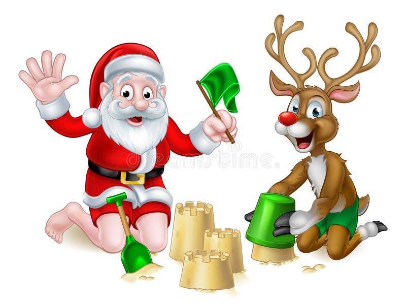 Spiaggia di estate di Natale della renna e di Santa royalty illustrazione gratis