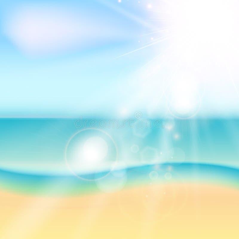 Spiaggia di estate e mare tropicale con luce solare illustrazione di stock
