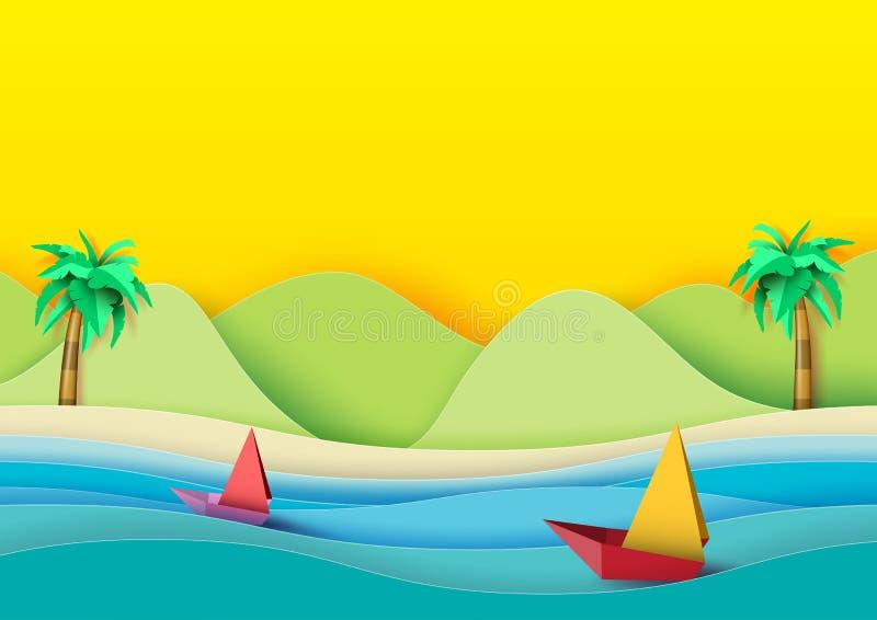 Spiaggia di estate e stile di carta di arte delle barche a vela illustrazione vettoriale