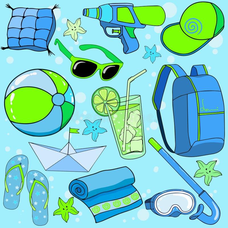 Spiaggia di estate messa per i bambini illustrazione di stock