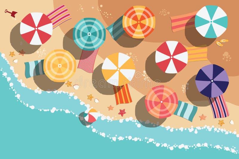 Spiaggia di estate negli oggetti piani di progettazione, del mare e della spiaggia illustrazione vettoriale
