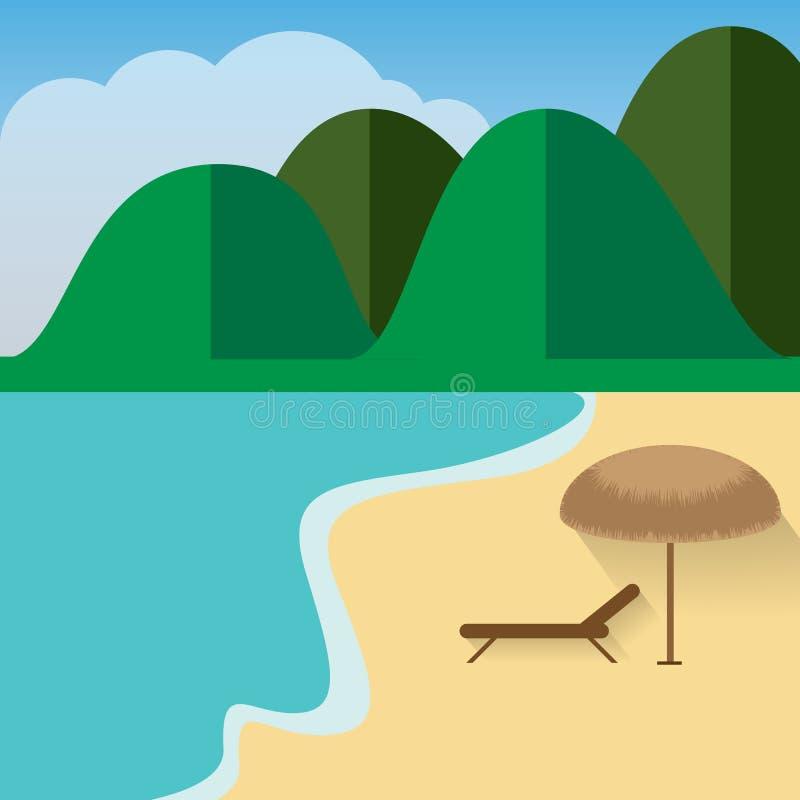 Spiaggia di estate Paesaggio del mare con le montagne, Sandy Beach ed il cielo nuvoloso fotografia stock