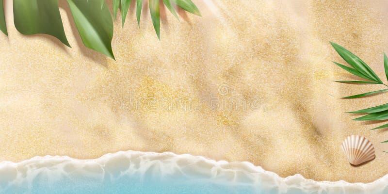 Spiaggia di estate di vista superiore illustrazione di stock