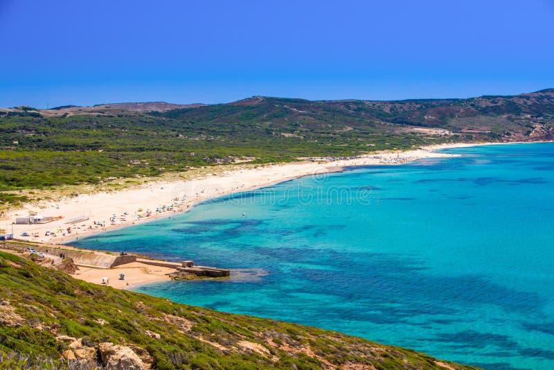 Spiaggia di Fontanamare Beach, Südwestküste, Sardinien, Italien stockbilder