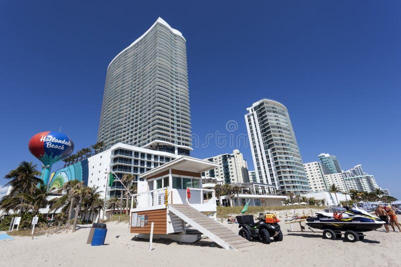 Spiaggia di Hallandale, Florida immagine stock libera da diritti