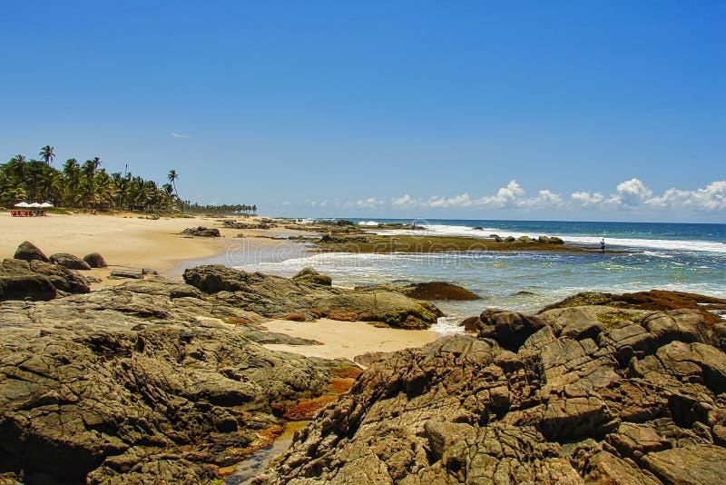 Spiaggia di Itapua con cielo blu con le nuvole, Salvador, Bahia, Brasile immagini stock libere da diritti