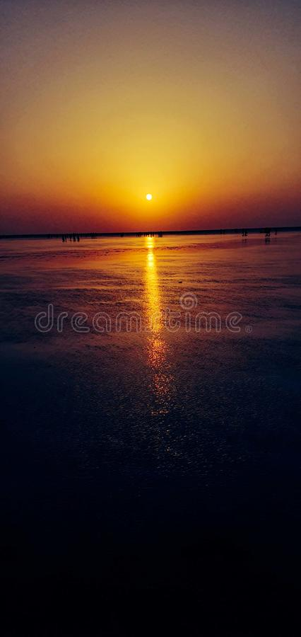 Spiaggia di Jampore, daman, Goudjerate, India fotografie stock