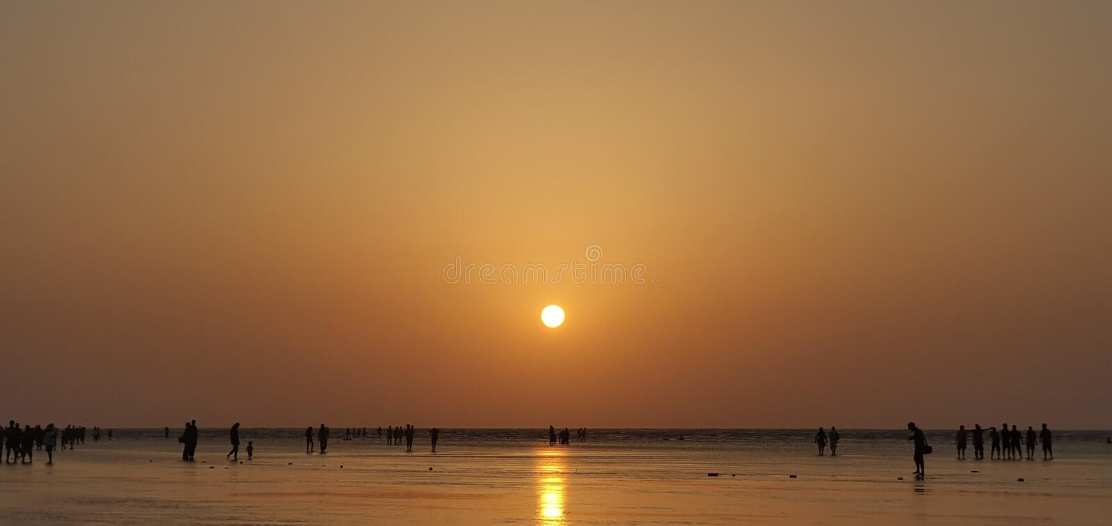 Spiaggia di Jampore, daman, Goudjerate, India immagine stock