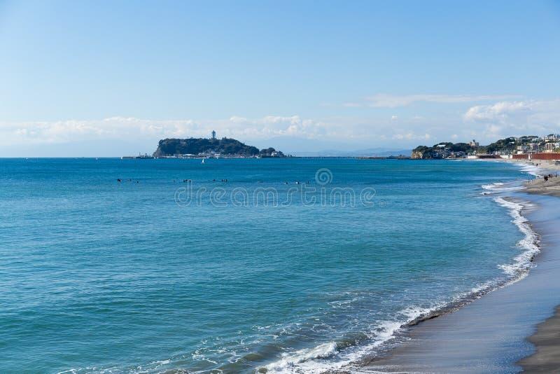 Spiaggia di Kamakura nel Giappone fotografie stock libere da diritti
