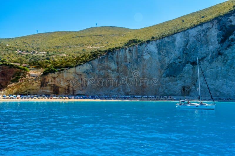 Spiaggia di katsiki di Oporto in Leukada fotografia stock