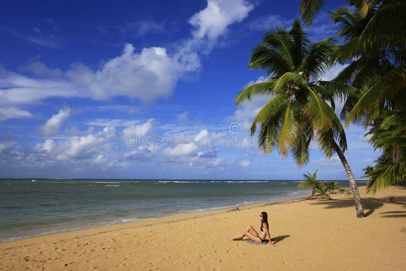 Spiaggia di Las Terrenas, penisola di Samana fotografia stock libera da diritti