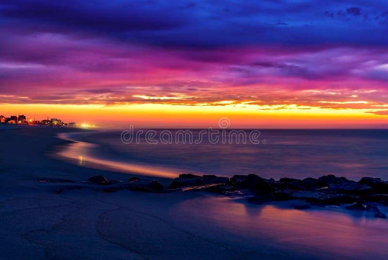 Spiaggia di Lavallette New Jersey ad alba immagine stock libera da diritti