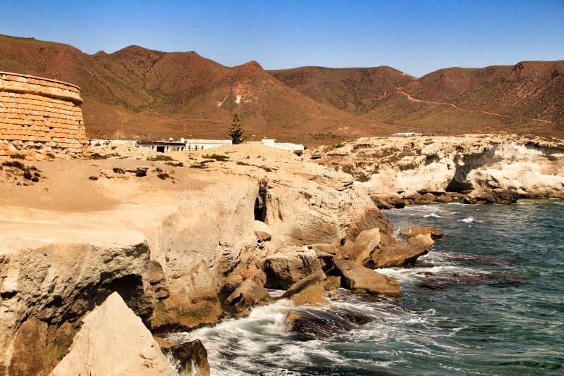 Spiaggia di Los Escullos con le dune fossilizzate in Cabo de Gata, Almeria fotografia stock