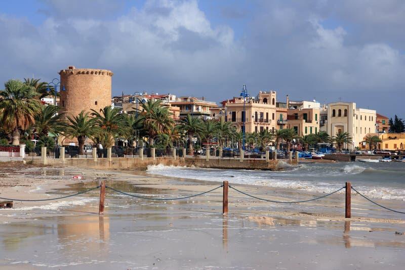 Spiaggia di Mondello, isola della Sicilia immagine stock