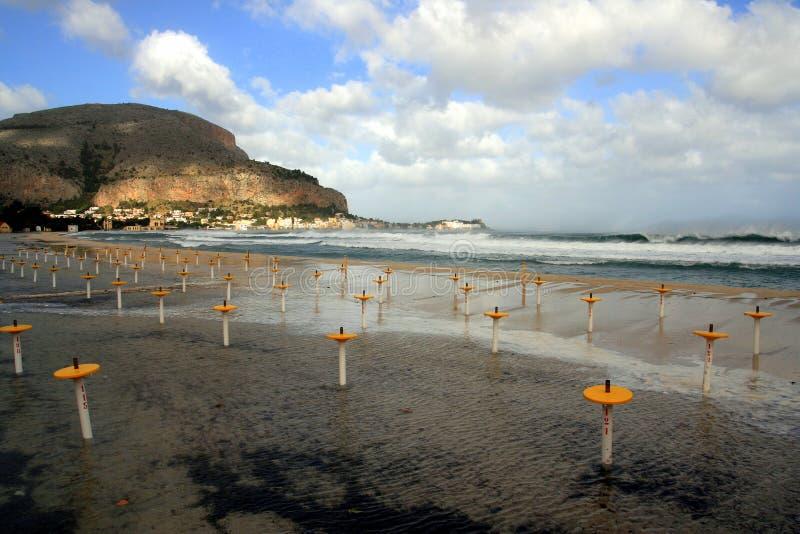 Spiaggia di Mondello, Palermo fotografie stock libere da diritti