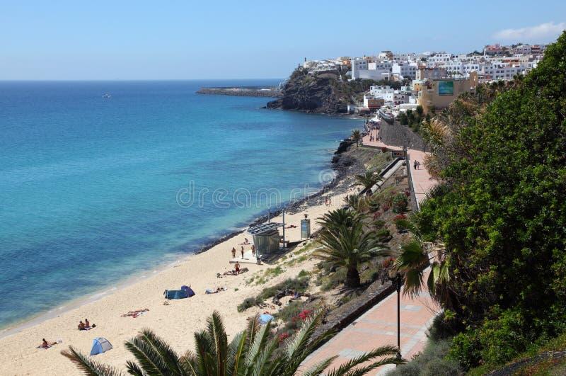 Spiaggia di Morro Jable, Fuerteventura fotografia stock libera da diritti