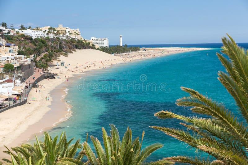 Spiaggia di Morro Jable, Isole Canarie Fuerteventura, fotografia stock libera da diritti