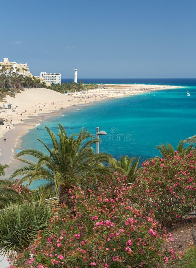 Spiaggia di Morro Jable, Isole Canarie Fuerteventura fotografia stock libera da diritti