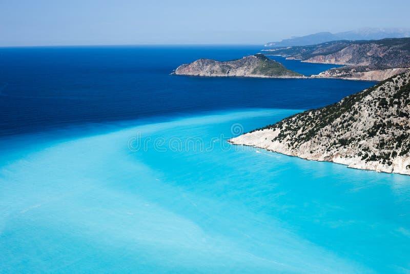 Spiaggia di Myrtos, isola di Kefalonia, Grecia fotografia stock