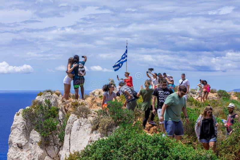 Spiaggia di Navagio (naufragio) nell'isola di Zacinto, Grecia fotografia stock libera da diritti
