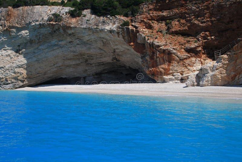 Spiaggia di Oporto Katsiki sull'isola ionica di Lefkas immagini stock libere da diritti