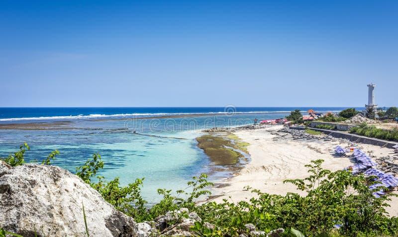 Spiaggia di Pantai Pandawa sull'isola di Bali fotografia stock libera da diritti