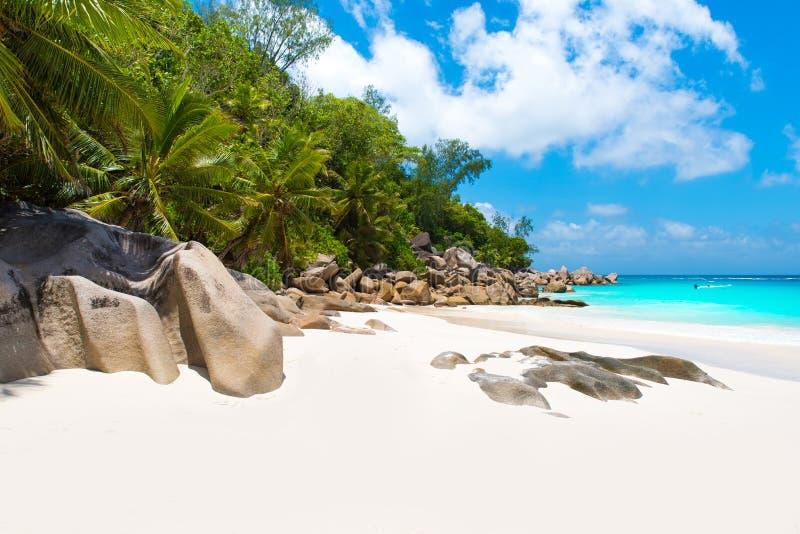 Spiaggia di paradiso - Anse Georgette a Praslin, Seychelles fotografia stock