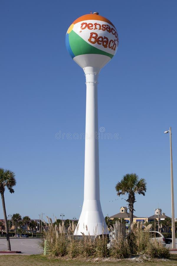Spiaggia di Pensacola, Florida Watertower fotografia stock libera da diritti