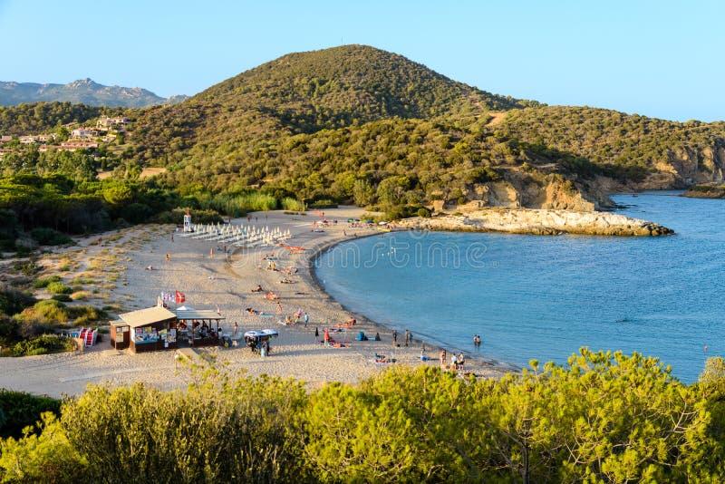 Spiaggia di Porticciolo in Chia fotografia stock libera da diritti