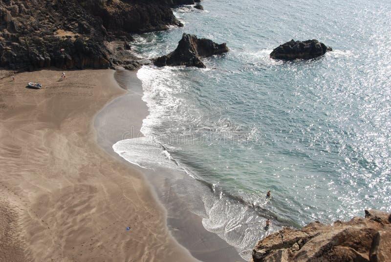 Spiaggia di Prainha - della Madera con la sabbia nera fotografie stock