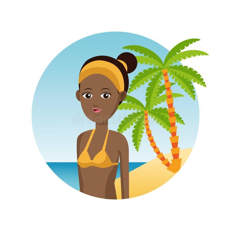 Spiaggia di sabbia turistica della palma di vacanza di viaggio della donna di afro royalty illustrazione gratis