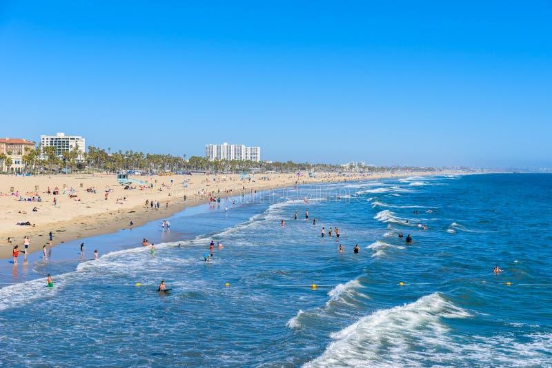 Spiaggia di Santa Monica, Los Angeles, California, U.S.A. fotografie stock libere da diritti