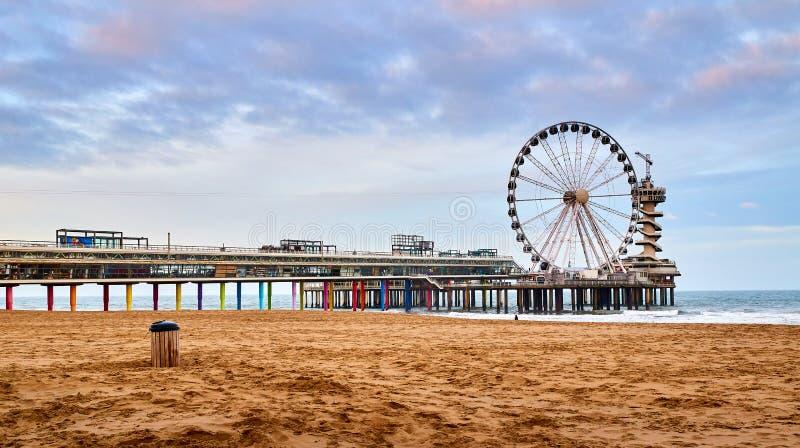 Spiaggia di Scheveningen, Den Haag, Paesi Bassi fotografia stock libera da diritti