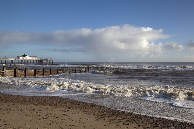 Spiaggia di Southwold, Suffolk, Inghilterra immagine stock