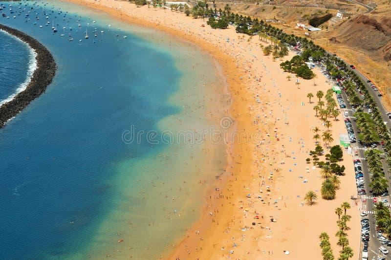 Spiaggia di Teresitas in Tenerife, Isole Canarie, Spagna immagine stock libera da diritti