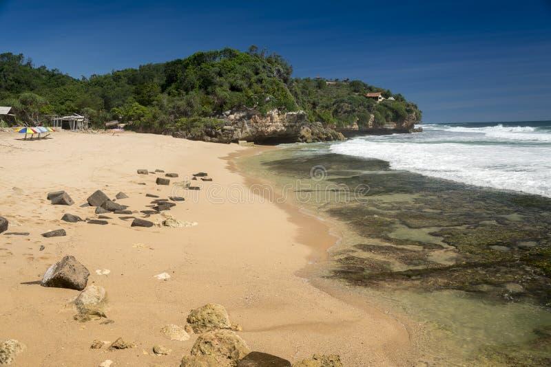 Spiaggia di Torohudan, Wonosari, Java, Indonesia fotografia stock libera da diritti